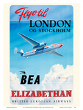 Fly To London And Stockholm - British European Airways (BEA) - Elizabethan Class Plakat af Roy Nockolds