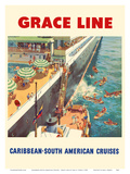 Caribbean - South American Cruises - Grace Line - Natives Diving for Coins Poster by Carl G. Evers