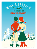 Winter Sports - Fly there by Swissair Poster by Elli Sieber