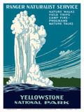 Yellowstone National Park - Old Faithful Geyser - Ranger Naturalist Service Posters af Work Projects Administration (WPA)
