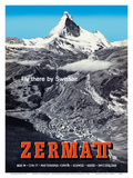 Zermatt, Switzerland - Matterhorn (Mont Cervin) - Swiss Alps - Fly there by SwissAir Print by Alfred Perren-Barberini
