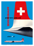 SwissAir - Seven Seas Airliner - Douglas DC-7C Posters by Kurt Wirth