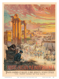 Rome - Trains for Italy - Paris-Lyon-Mediterrannee (PLM), French Railroad Prints by Carlo Cussetti