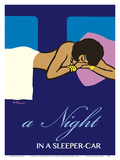 A Night in a Sleeper Car Train - French National Railways SNCF Prints by Bernard Villemot