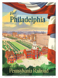 Visit Philadelphia - Independence Hall - Go by Pennsylvania Railroad Prints by  Pacifica Island Art