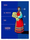 To Russia By Sabena (Vers La Russie Par Sabena) - Sabena Belgian World Airlines Posters by Publi Tera