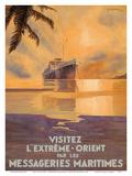 Visit the Far East (Visitez L'Extreme Orient) - Messagerie Maritimes (MM) Prints by Jean Des Gachons