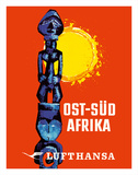 East-South Africa (Ost-Sud Afrika) - Lufthansa German Airlines Giclée-tryk af Pacifica Island Art
