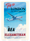 Fly To London And Stockholm - British European Airways (BEA) - Elizabethan Class Lámina por Roy Nookolds