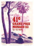41st Monaco Grand Prix 1983 - Formula One Race Car Posters by Pierre Lecomte