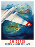Flights around the Alps - Swissair Prints by Eugene Häfelfinger