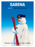 Sabena Brings You to The Winter Sports - Sabena Belgian World Airlines Poster by  Pacifica Island Art