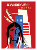 SwissAir to the USA - Native American Prints by Donald Brun