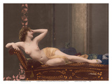 Classic Vintage Hand-Colored Nude - Exotic French Erotic Art Poster von Julian Mandel