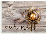 Our Nest Golden Egg Distressed Wood Wood Sign