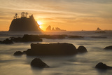 Rock Formations Silhouetted At Sunset On The Pacífic Coast Of Olympic National Park Photographic Print by Inaki Relanzon