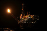 Eider Platform At Night, 60 Miles Northeast Of Shetland, North Sea Photographic Print by Philip Stephen