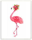 Pink Flamingo with Flowers Facing Left Wood Sign
