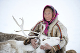 A Tundra Nenets Woman With Her -Akva- Pet Reindeer (Rangifer Tarandus), Yar-Sale District, Yamal Photographic Print by Eric Baccega