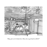 """Hey, pal, we're kinda lost. How do we get back to 2016?"" - New Yorker Cartoon Stretched Canvas Print by Michael Crawford"
