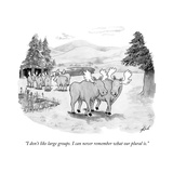 """I don't like large groups. I can never remember what our plural is."" - New Yorker Cartoon Stretched Canvas Print by Tom Toro"