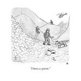 """I have a system."" - New Yorker Cartoon Stretched Canvas Print by Paul Noth"