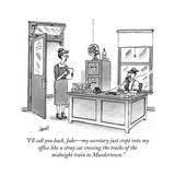 """I'll call you back, Jake?my secretary just crept into my office like a st..."" - New Yorker Cartoon Stretched Canvas Print by Tom Cheney"