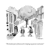 """The hardest part of homework is keeping my parents motivated."" - New Yorker Cartoon Stretched Canvas Print by Pat Byrnes"