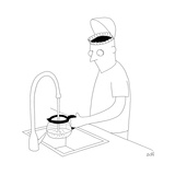 A man filling up his coffee pot, with his brain as a coffee filter. - New Yorker Cartoon Stretched Canvas Print by Seth Fleishman