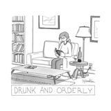 Drunk and Orderly -- A woman reads a book with a glass and bottle of wine ... - New Yorker Cartoon Stretched Canvas Print by Charlie Hankin