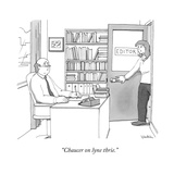 """""""Chaucer on lyne thrie."""" - New Yorker Cartoon Stretched Canvas Print by Charlie Hankin"""