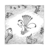 A Peacock in a weight room uses its feathers to do lateral curls.  - New Yorker Cartoon Stretched Canvas Print by John O'brien