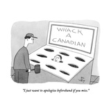 """I just want to apologize beforehand if you miss."" - New Yorker Cartoon Stretched Canvas Print by Peter C. Vey"