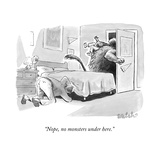 """Nope, no monsters under here."" - New Yorker Cartoon Stretched Canvas Print by Liam Walsh"