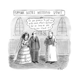 "Spark Notes Marriage Vows -- A Minister says, ""Do you promise to put up wi... - New Yorker Cartoon Stretched Canvas Print by Roz Chast"