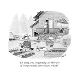 """I'm doing some reorganizing?are there any of your possessions that you wa..."" - New Yorker Cartoon Stretched Canvas Print by Tom Toro"