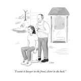 """I want it lawyer in the front, client in the back."" - New Yorker Cartoon Stretched Canvas Print by Emily Flake"