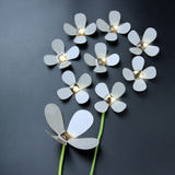 3D Crystal Flowers - White Decalques de parede