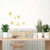 3D Butterflies - Yellow Autocollant mural