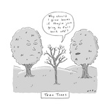 "TITLE: ""Teen Trees,"" a small. bare tree between its two, full-leafed paren... - New Yorker Cartoon Stretched Canvas Print by Kim Warp"