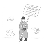 "A man holds a sign that reads ""We are being controlled by the random outco? - New Yorker Cartoon Stretched Canvas Print by Jacob Samuel"