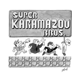 Super Karamazov Bros. -- a parody of Mario Brothers -- Grim images from Do? - New Yorker Cartoon Stretched Canvas Print by Tom Toro