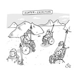 Hunter-Catheters -- Stone-Age warriors sit in early wheelchairs.  - New Yorker Cartoon Stretched Canvas Print by Farley Katz