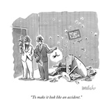 """To make it look like an accident."" - New Yorker Cartoon Stretched Canvas Print by Liam Walsh"