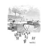 A boat basin cruise ship toy lets off tiny passengers.  - New Yorker Cartoon Stretched Canvas Print by Liam Walsh