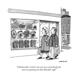 """""""Unbelievable?Lohri's not even over and already the stores are putting out?"""" - New Yorker Cartoon Stretched Canvas Print by Joe Dator"""