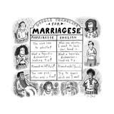 Google Translate for Marriagese -- translated passive aggressive comments. - New Yorker Cartoon Stretched Canvas Print by Roz Chast