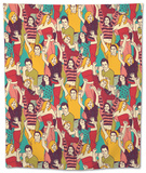 Crowd Active Happy People Seamless Color Pattern Tapestry by  Karrr