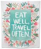 Eat Well Travel Often - Floral Tapestry by Cat Coquillette