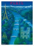 Paris - River Seine, Eiffel Tower, Notre Dame Kunst af Bernard Villemot